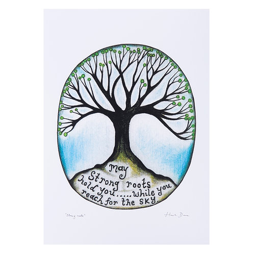 may strong roots hold you while you reach for the sky tree inspirational positive grounding art print hannah dorman