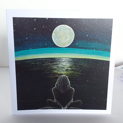 Moon meditation greeting card mindfulness calm full moon over water wild woman rising