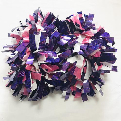 ポンポン:紫&白&ピンク
