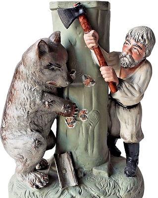 Фарфоровая статуэтка Мужик и медведь