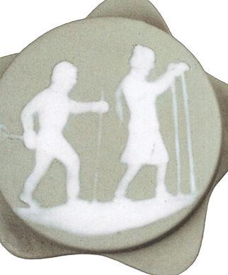 Фарфоровая шкатулка с изображением лыжни