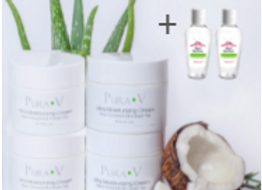 Four Ultra Moisturizing Creams with Aloe - 8 oz + 2 Free Natural Hand Sanitizers