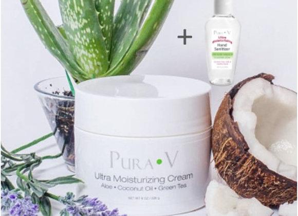 1 Ultra Moisturizing Cream- 8oz + FREE Natural Hand Sanitizer