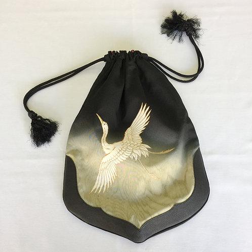 巾着袋・藤紋と鶴