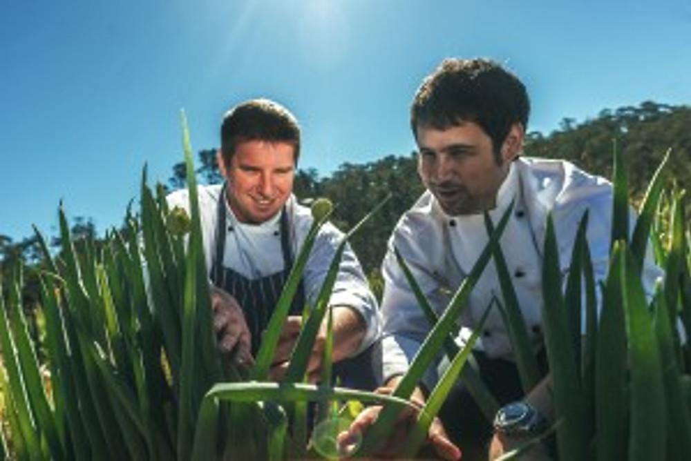 (l-r) Darley's Restaurant executive chef Lee Kwiez and Hydro Majestic Hotel head chef Mate Herceg at the Parklands kitchen garden