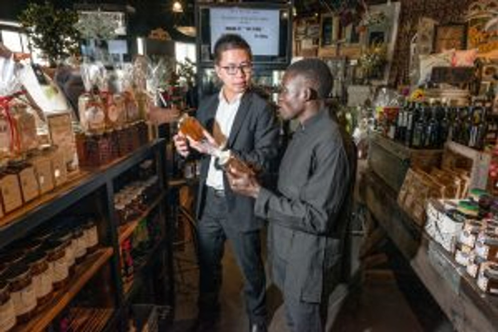 (l-r) Food & beverage manager Phu Le and Amos Emenyu in the Hydro Pavilion.