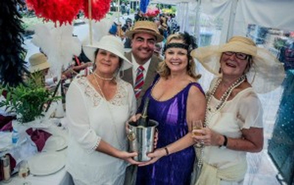 (l-r) Jodie Van Der Velden, Randall Walker, Lyndey Milan OAM and Pam Seaborn at a previous Long Lunch