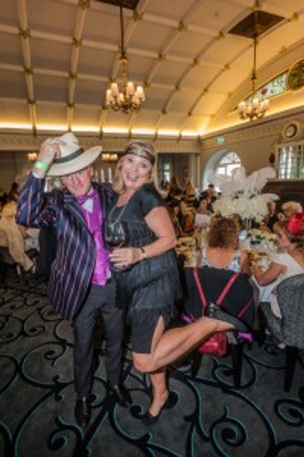 John Calton and Lyndey Milan hamming it up at the Majestic Long Lunch in the Hydro Majestic Ballroom.