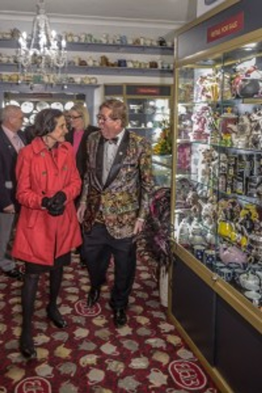 (l-r) Professor Dame Marie Bashir inspects the new-look Bygone Beautys with proprietor Maurice Cooper OAM