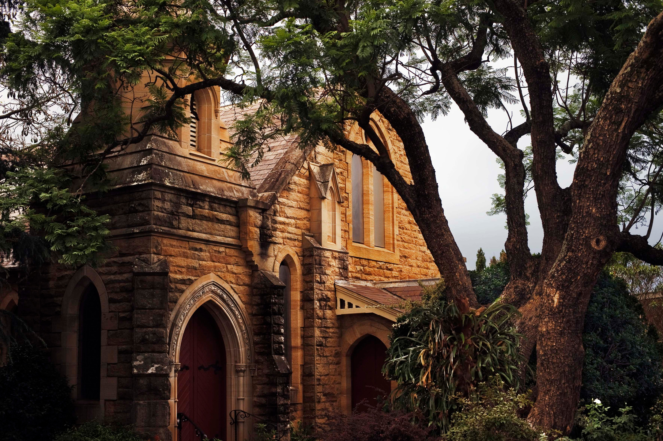 The old Presbyterian church in the main street of Springwood.