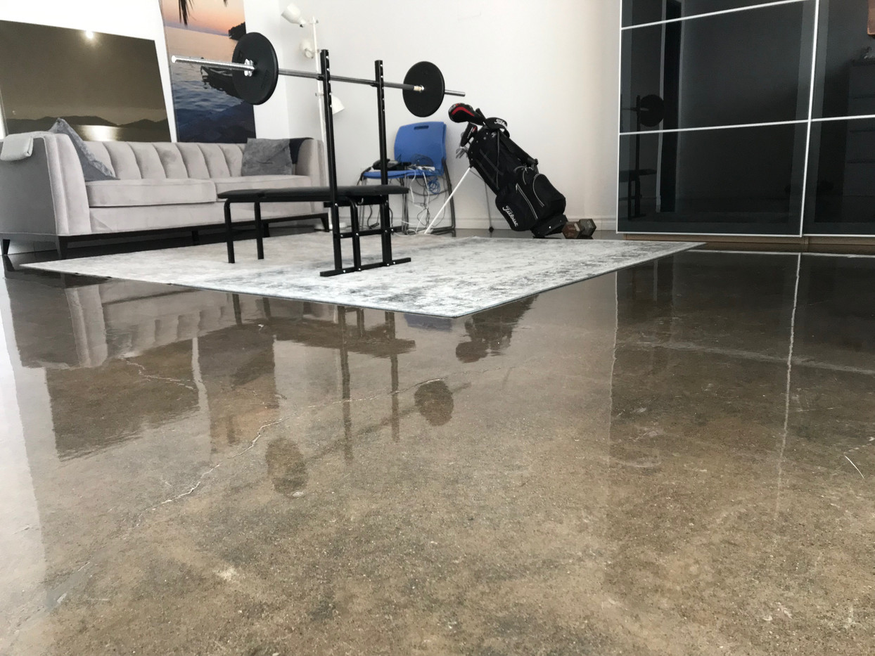 Polished concrete office floor.