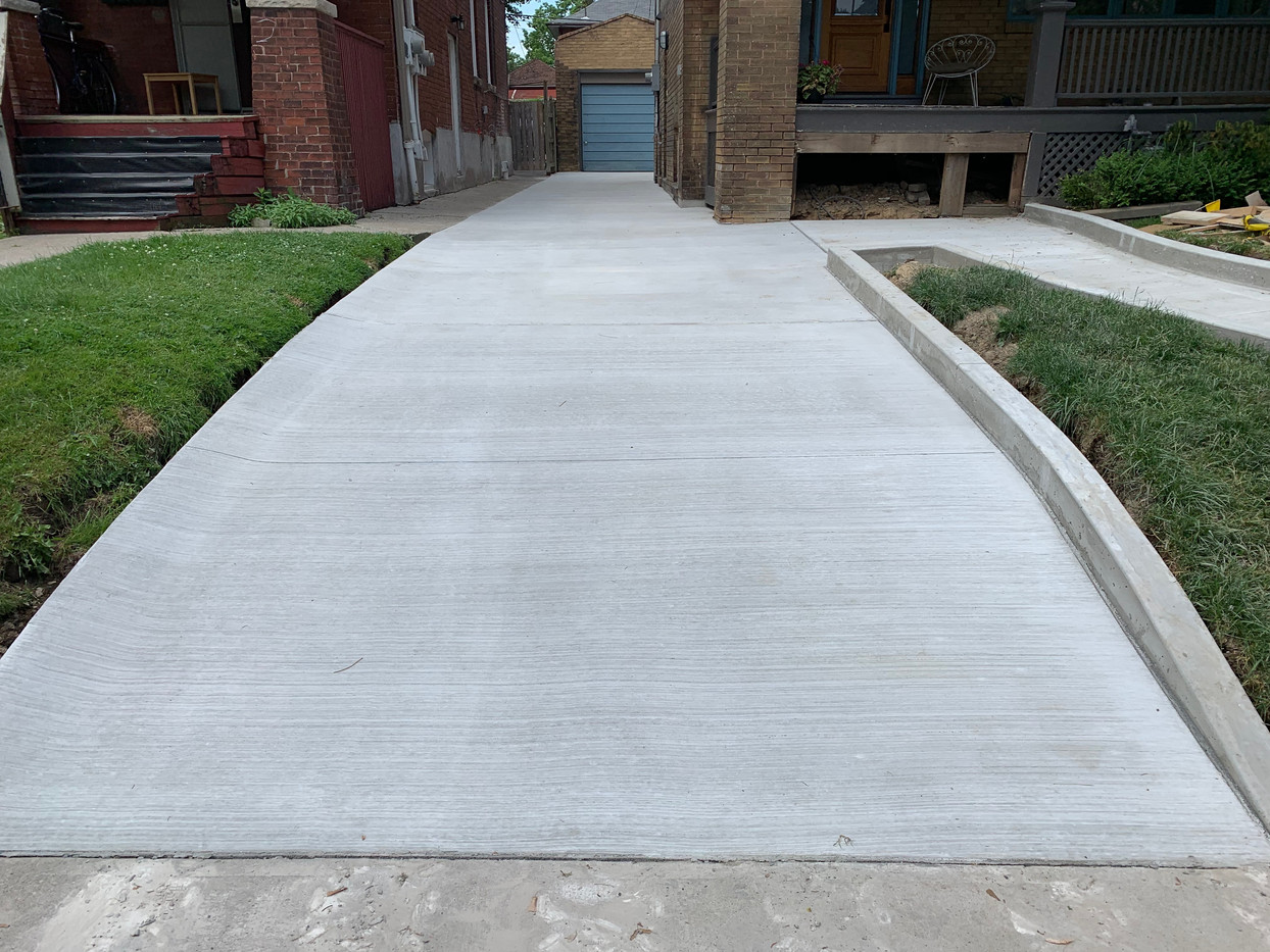 Driveway with curb.