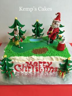 Golfing Santa Cake