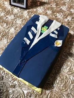 Navy Suit Grooms Cake