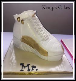 Jordan Gold & White Shoe
