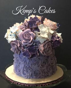 30th Edible Flower Cake