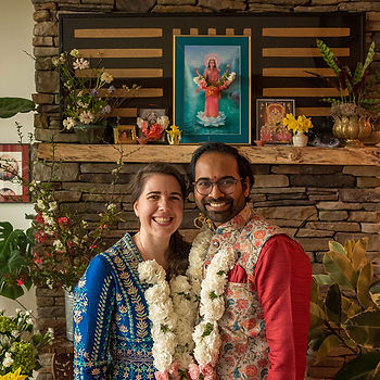 Image of the author and her husband after their zoom wedding ceremony.