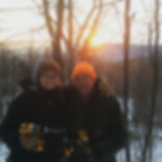 Bob and Jenna tappin trees in the sugarbush