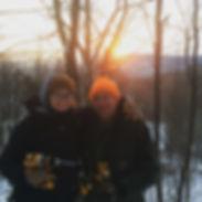 Bob and Jenna tappin trees in the sugarbush