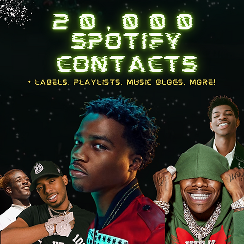 20,000 Spotify & Industry Contact List