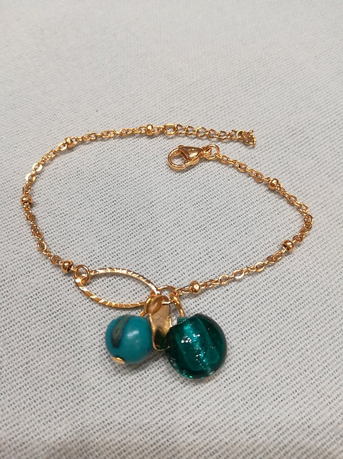 """Bracelet doré et perles """"La Fée Perle"""""""