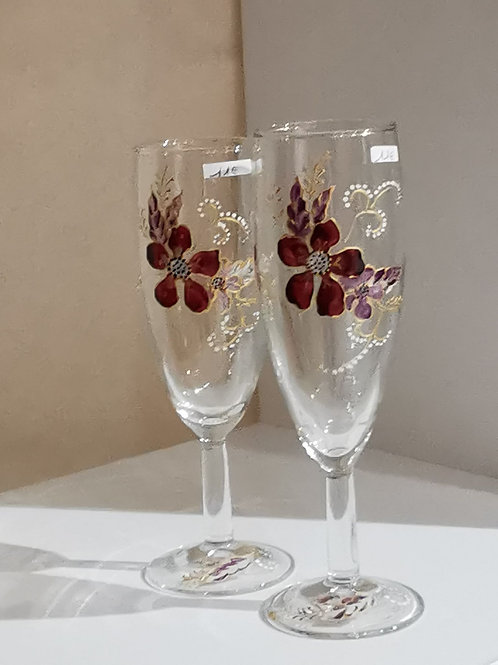 Flûte à Champagne fleurs bordeaux