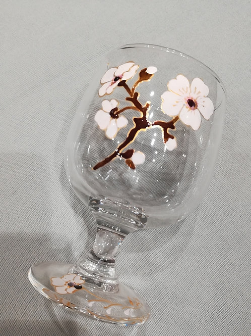 """Verre à eau fleurs blanches """"Nad'All"""""""