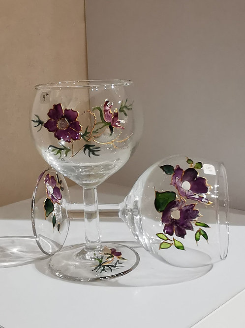 Verre ballon fleurs violettes