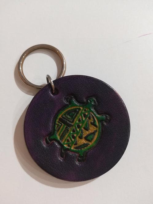 Porte-clés rond cuir