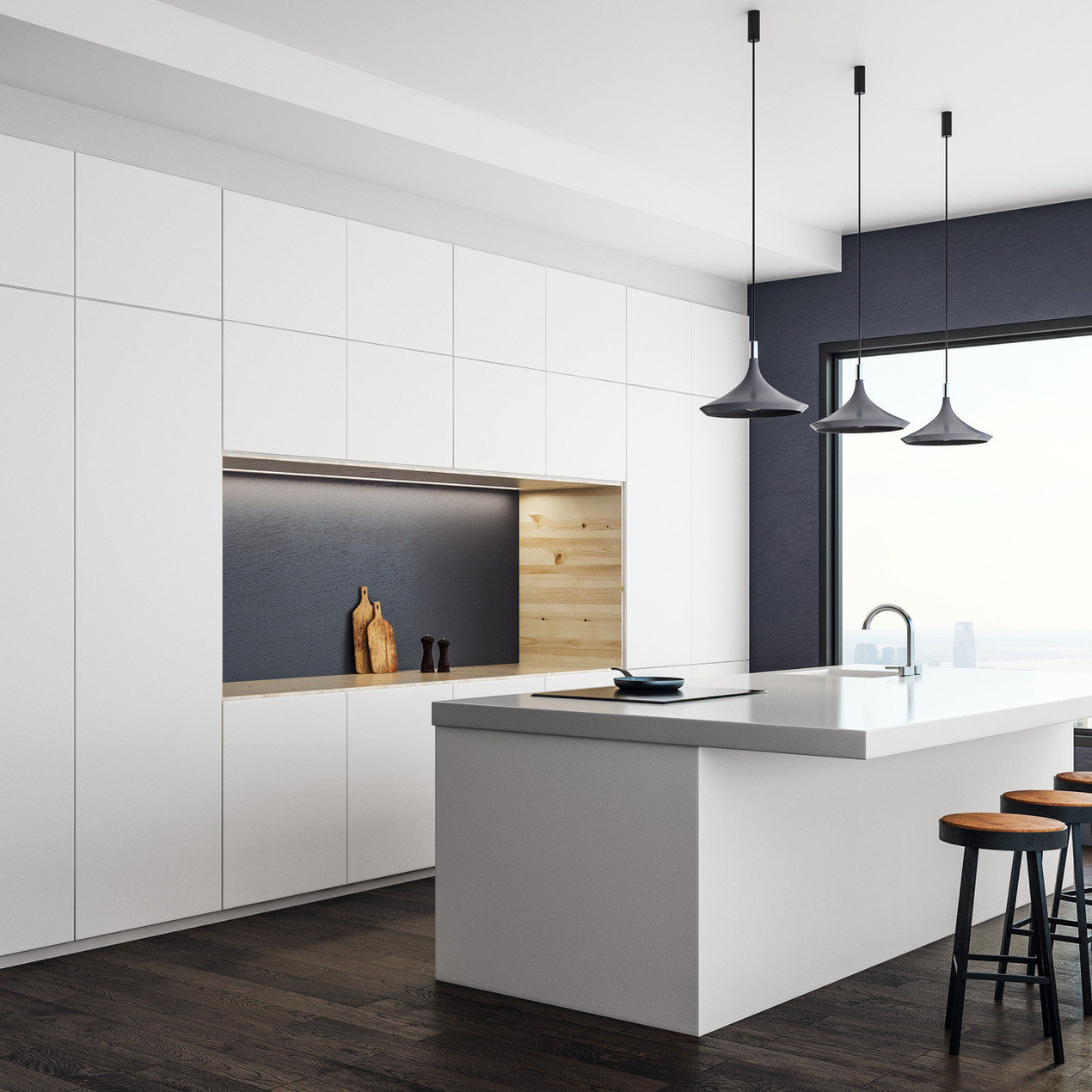 A sleek & modern kitchen designed with a minimalist aesthetic.