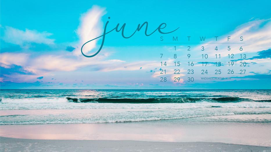 June 2020 Beach Calendar Desktop Backgro