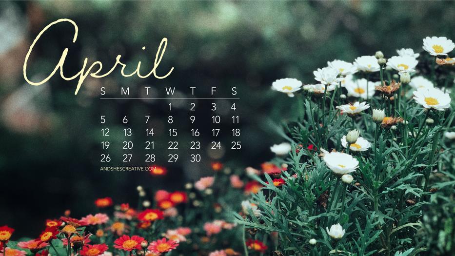 April 2020 Floral Background Desktop