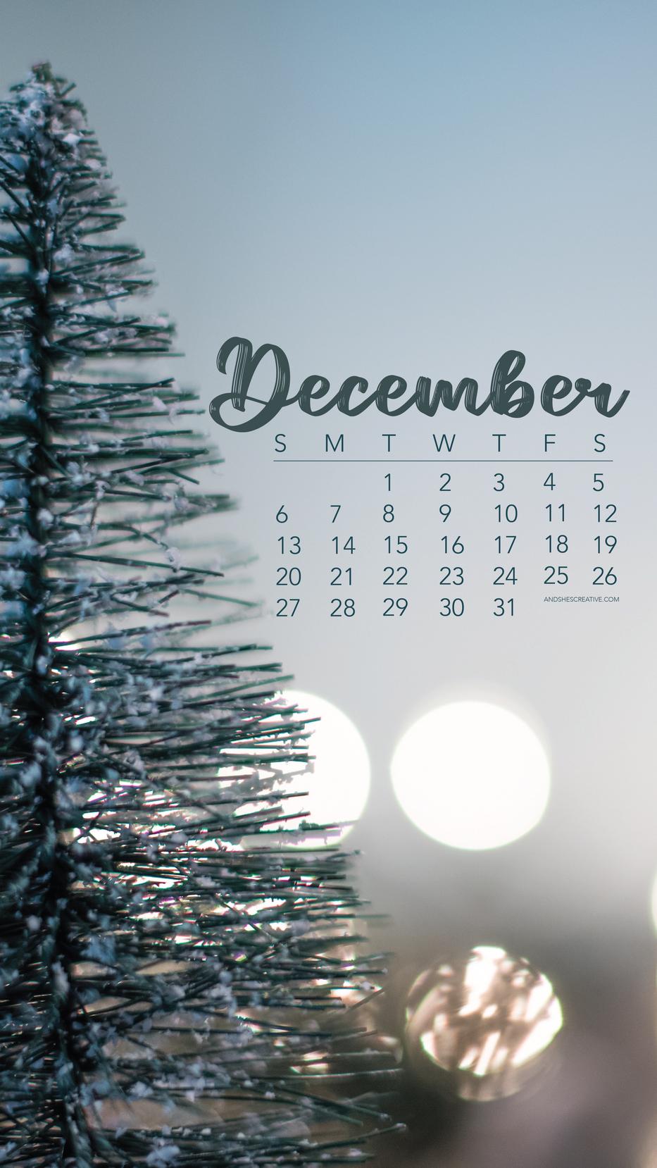 December Christmas Tree Calendar Mobile Background