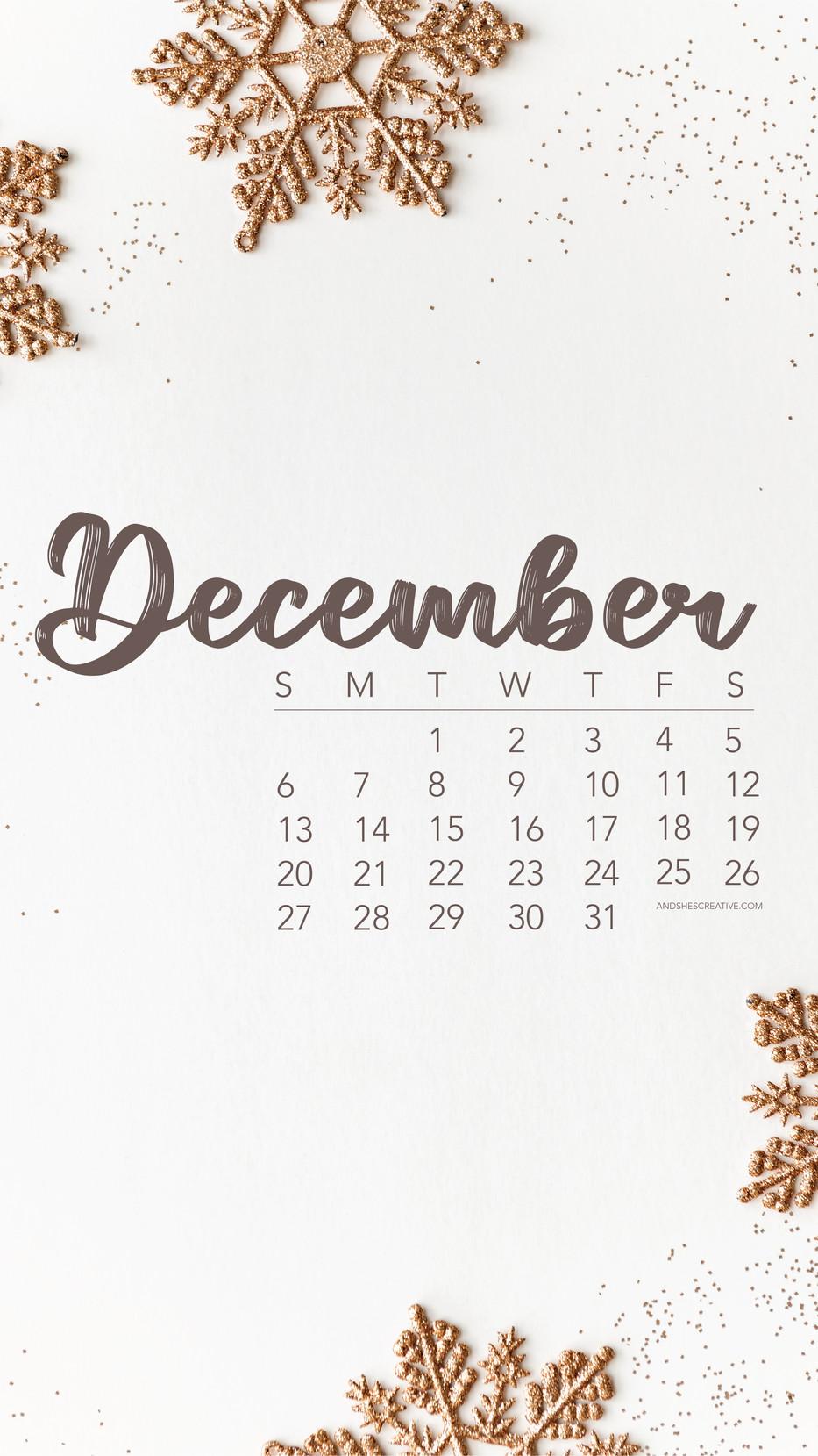 December Snowflake Calendar Mobile Background