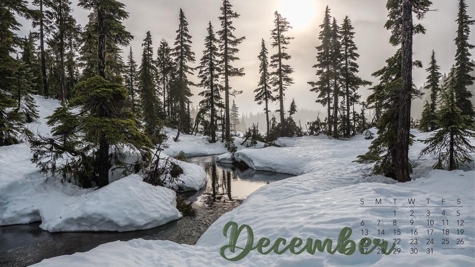 December Snow Calendar Desktop Background