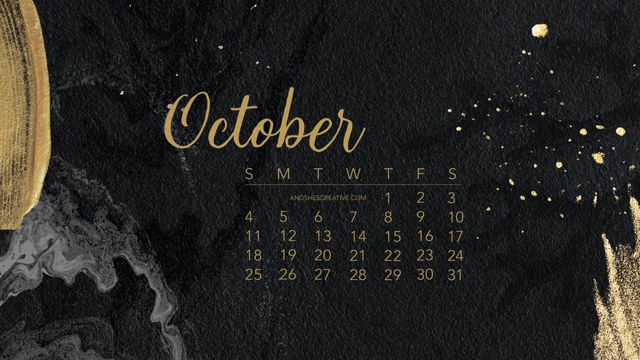 Black and Gold October Desktop Background