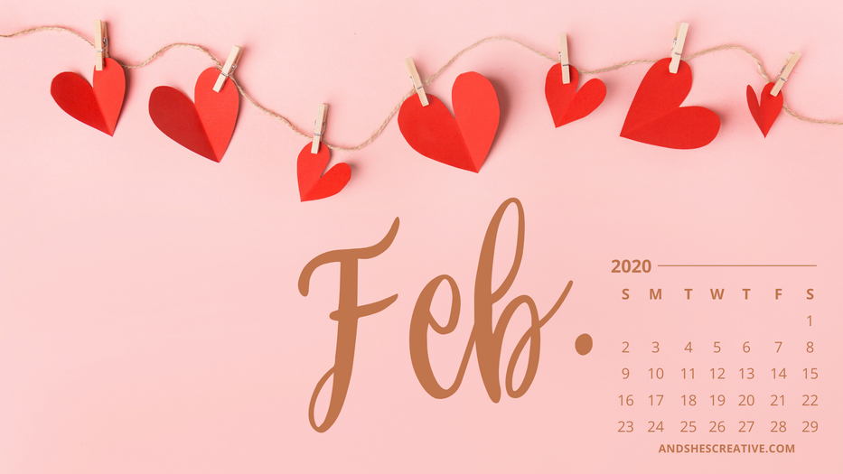 February Calendar Desktop Bacground Hearts