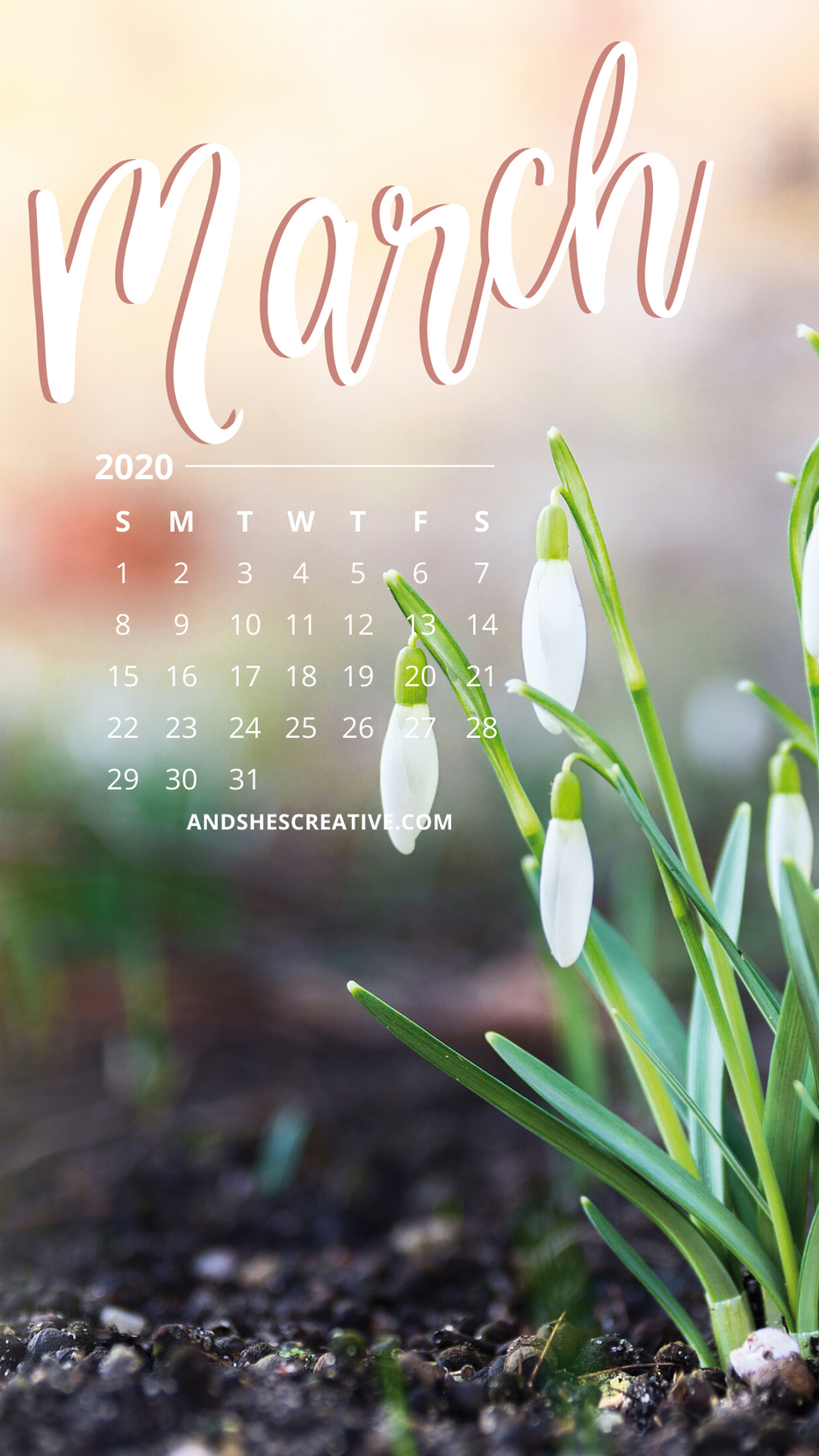March Calendar Flower Background Mobile