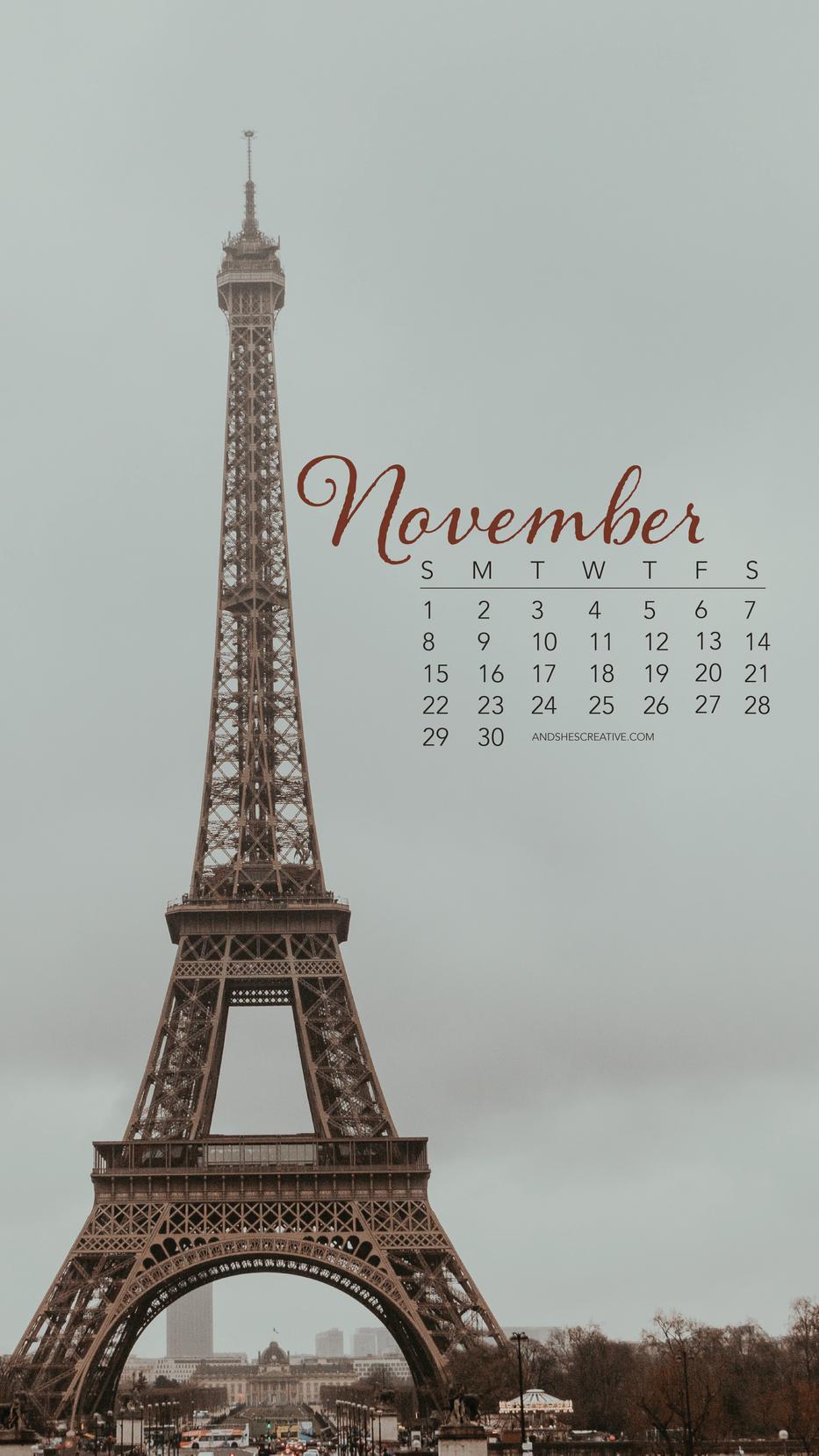November Eiffel Tower Mobile Background