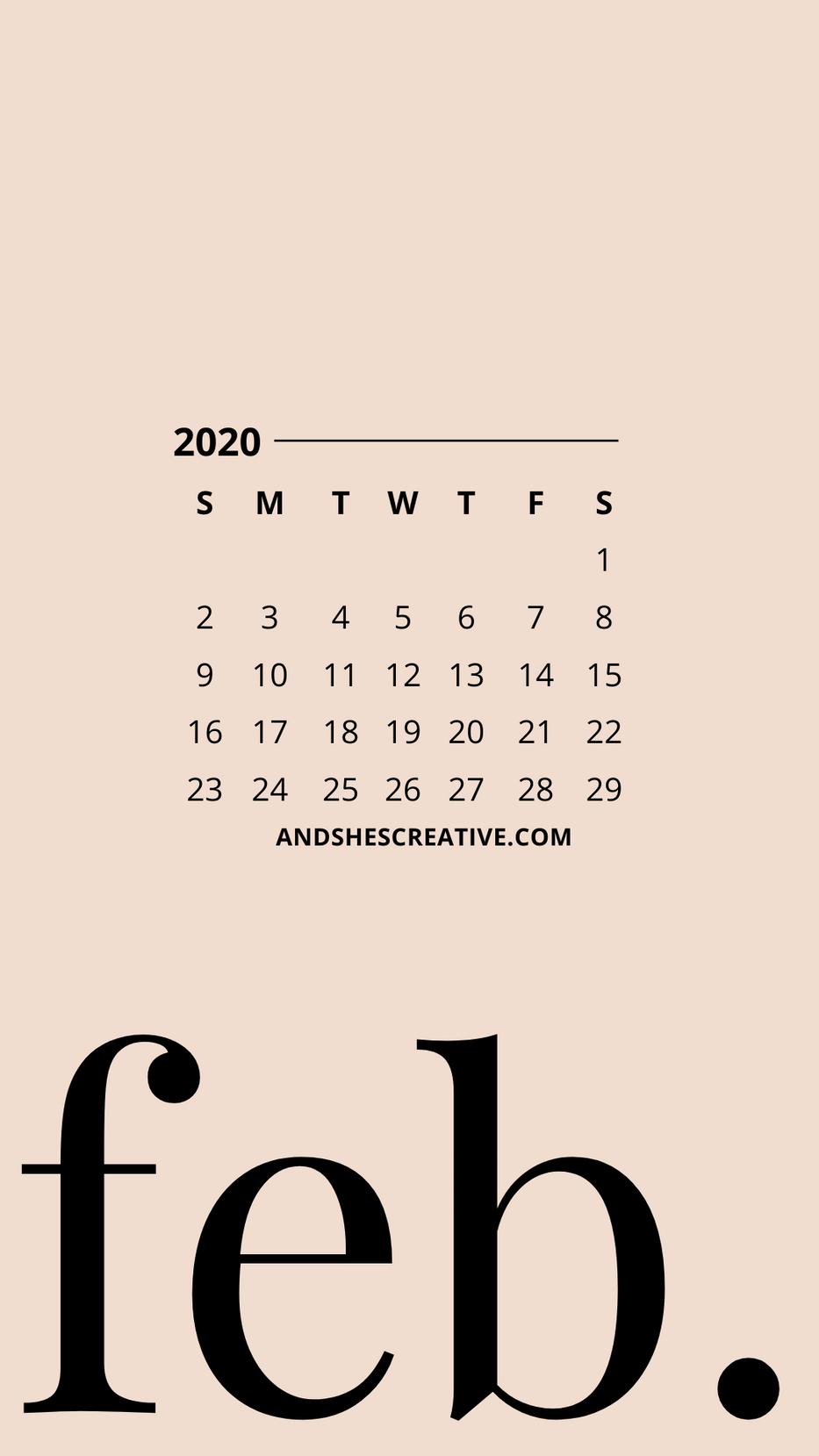 February Calendar Phone Bacground