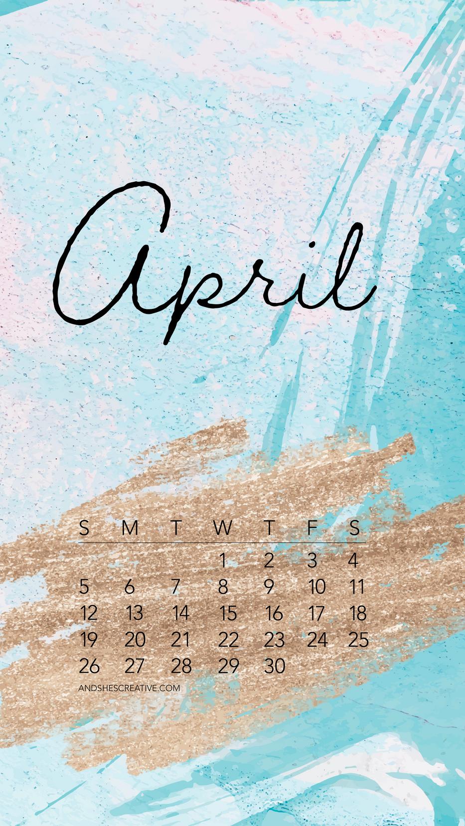 April 2020 Glitter Background Mobile