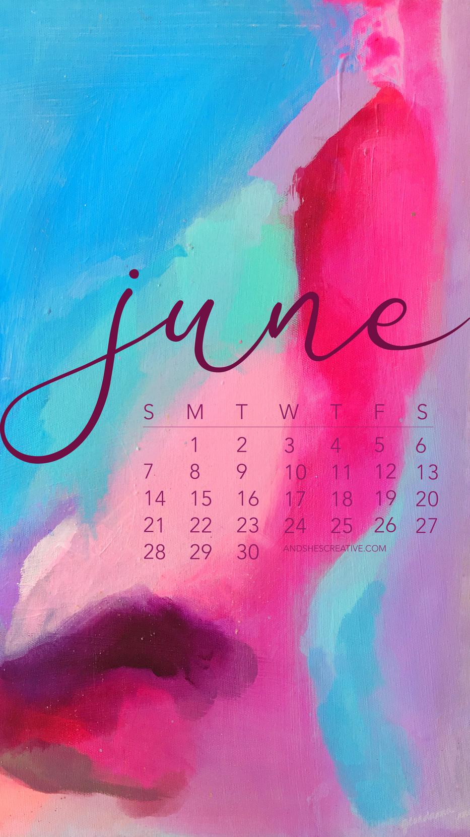 June 2020 Watercolor Calendar Mobile Bac