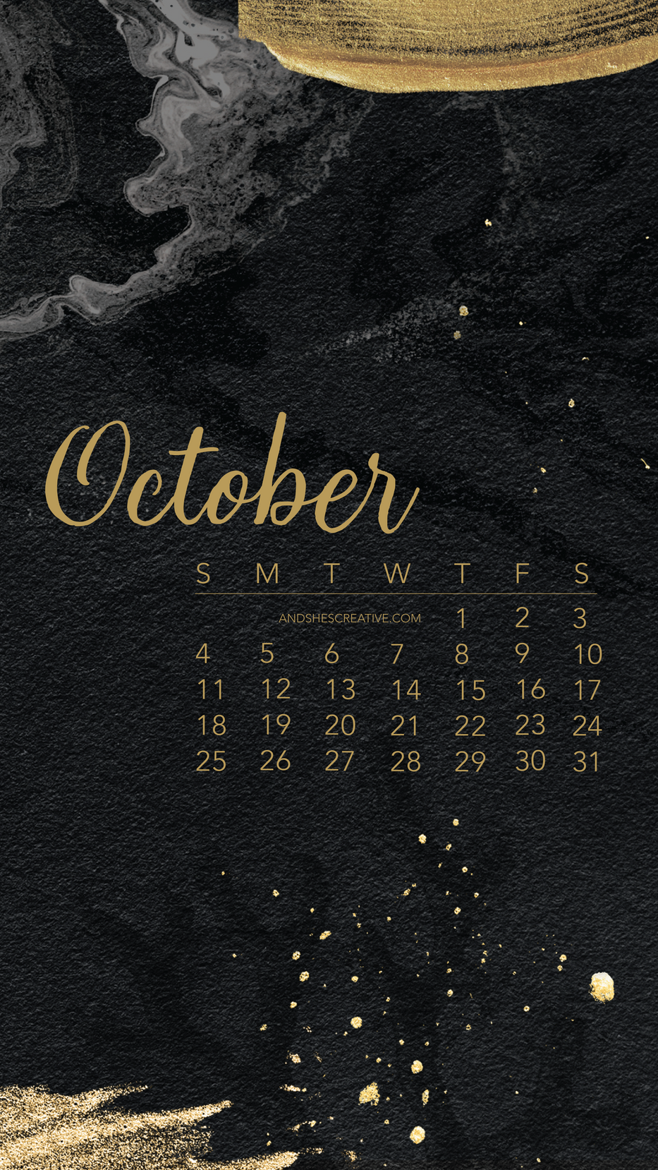 Black and Gold October Mobile Background