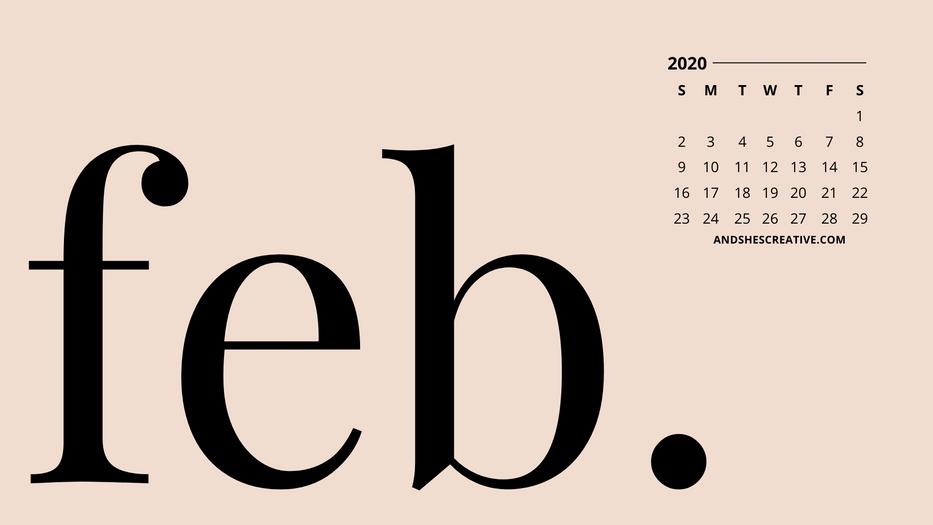 February Calendar Desktop Bacground