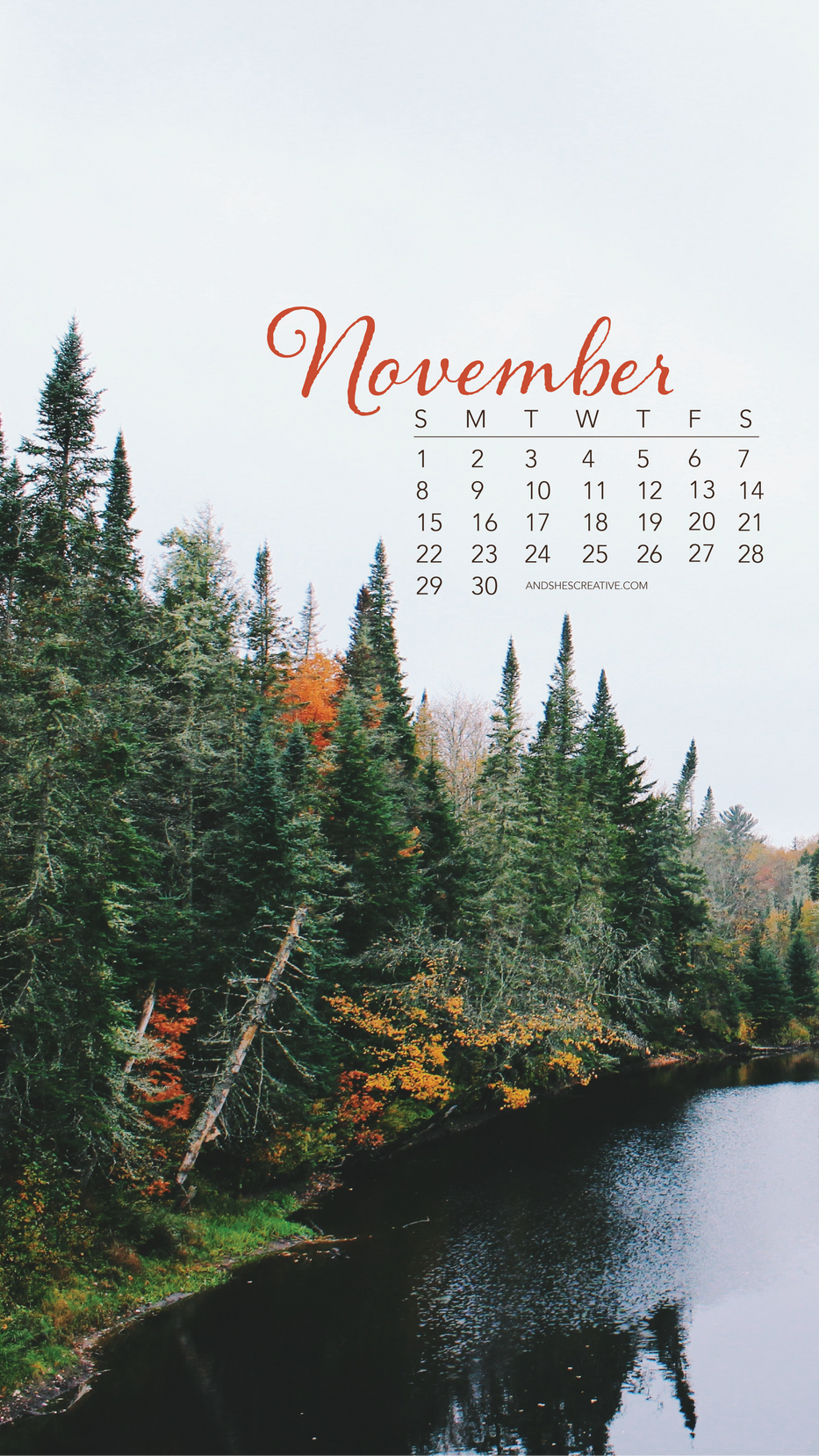 November Fall Mobile Background
