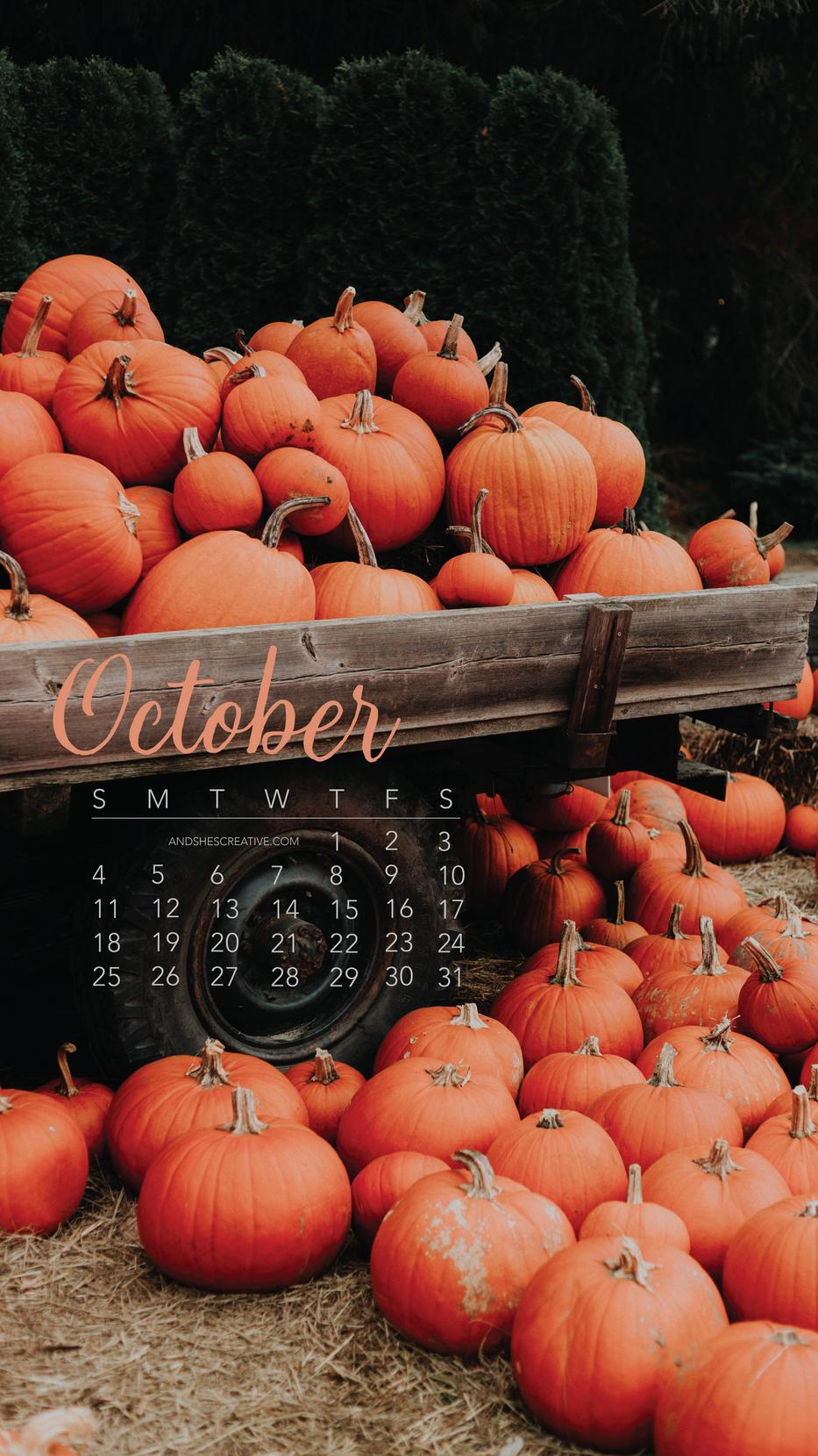 Pumpkin Pick Up Truck October Mobile Background