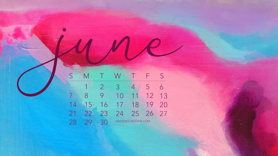 June 2020 Watercolor Calendar Desktop Ba