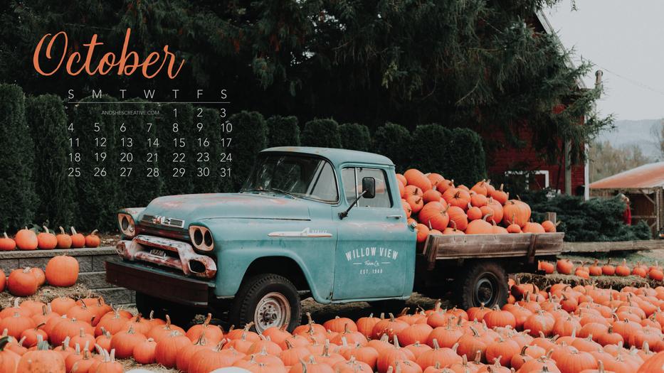 Pumpkin Pick Up Truck October Desktop Background