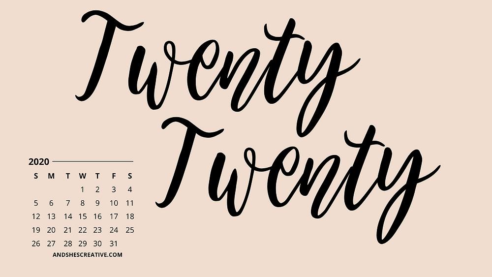 January 2020 pink calendar tech background