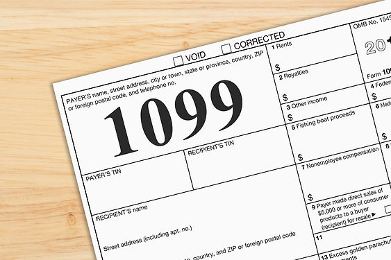 A US Federal tax 1099 income tax form on